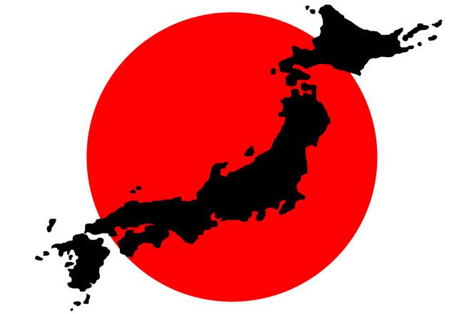 силуэт японского архипелага на фоне флага Японии - крупнейшие компании Японии - рейтинг