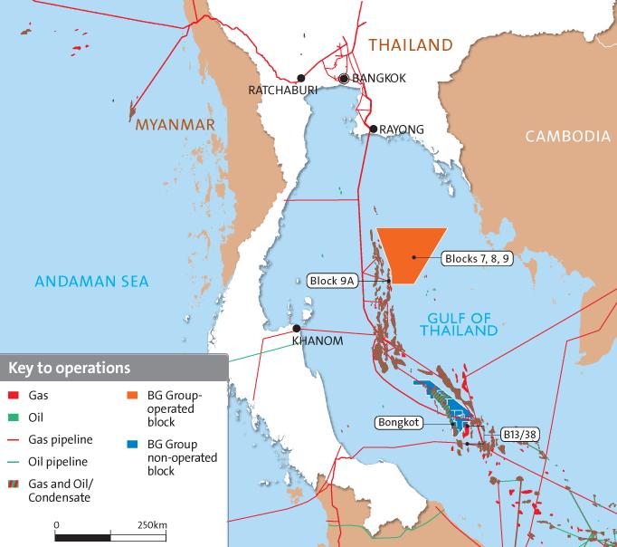 шельфовое месторождение Bongkot, схема расположения в Сиамском заливе