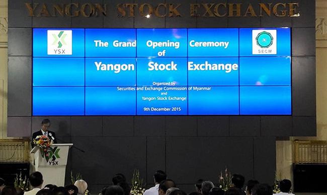церемония открытия новой биржи в Мьянме, которую назвали Янгонская фондовая биржа