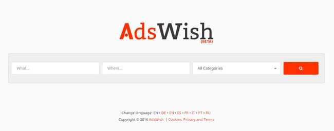 Главная страница поисковика AdsWish минималистична в стиле Google. Примочки и изыски графического дизайна не должны быть заменой мощному функционалу. При отсутствии функционала примочки и внешние навороты не помогут удержать посетителей.