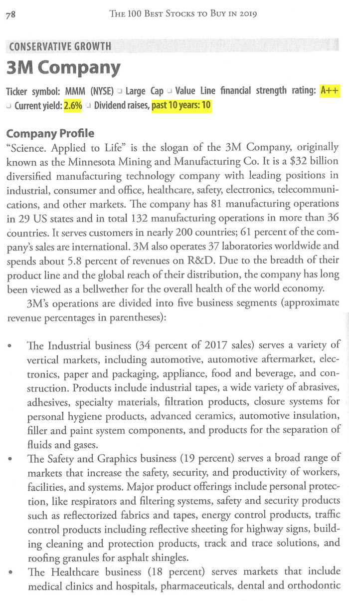 как в книге анализируются американские акции - пример профиля компании 3M